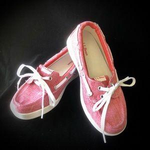 NWOT L.L. Bean Red Boat Shoes - Size 6M